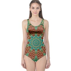 The Wooden Heart Mandala,giving Calm One Piece Swimsuit