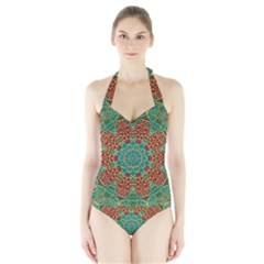 The Wooden Heart Mandala,giving Calm Women s Halter One Piece Swimsuit