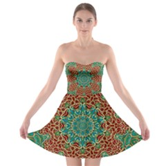 The Wooden Heart Mandala,giving Calm Strapless Dresses