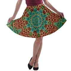 The Wooden Heart Mandala,giving Calm A-line Skater Skirt