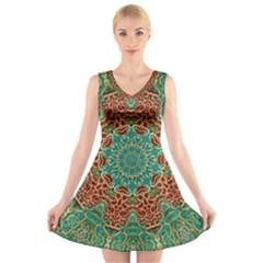 The Wooden Heart Mandala,giving Calm V-Neck Sleeveless Skater Dress