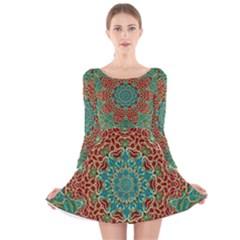 The Wooden Heart Mandala,giving Calm Long Sleeve Velvet Skater Dress