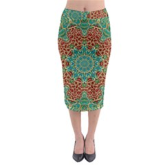 The Wooden Heart Mandala,giving Calm Midi Pencil Skirt