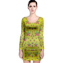 Flower Power Stars Long Sleeve Bodycon Dress