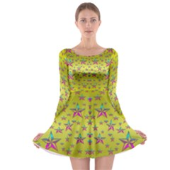Flower Power Stars Long Sleeve Skater Dress