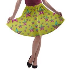 Flower Power Stars A-line Skater Skirt