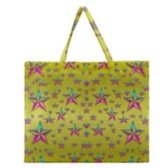 Flower Power Stars Zipper Large Tote Bag