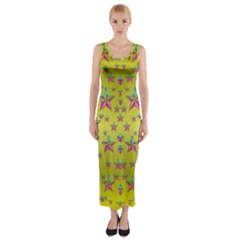 Flower Power Stars Fitted Maxi Dress
