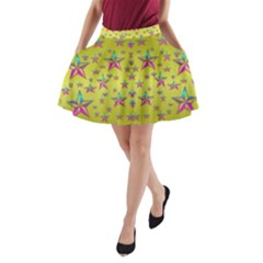 Flower Power Stars A Line Pocket Skirt