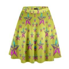 Flower Power Stars High Waist Skirt