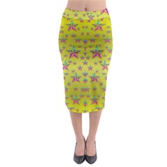Flower Power Stars Midi Pencil Skirt