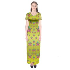 Flower Power Stars Short Sleeve Maxi Dress