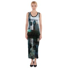 Downtown Orlando Florida Lake Eola  Fitted Maxi Dress