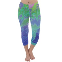 Green Blue Pink Color Splash Capri Winter Leggings