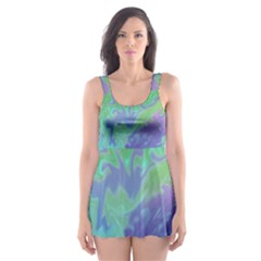 Green Blue Pink Color Splash Skater Dress Swimsuit