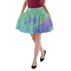 Green Blue Pink Color Splash A Line Pocket Skirt