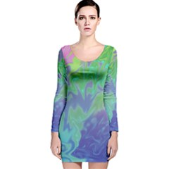 Green Blue Pink Color Splash Long Sleeve Velvet Bodycon Dress