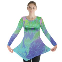 Green Blue Pink Color Splash Long Sleeve Tunic