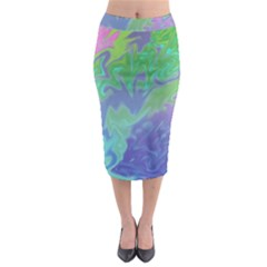 Green Blue Pink Color Splash Midi Pencil Skirt