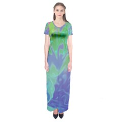 Green Blue Pink Color Splash Short Sleeve Maxi Dress