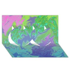 Green Blue Pink Color Splash Twin Hearts 3d Greeting Card (8x4)