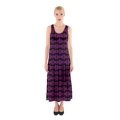 Pink Black Retro Tiki Pattern Sleeveless Maxi Dress