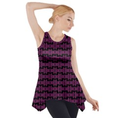Pink Black Retro Tiki Pattern Side Drop Tank Tunic