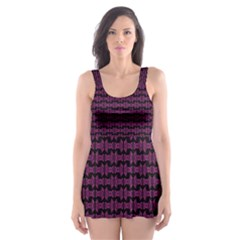 Pink Black Retro Tiki Pattern Skater Dress Swimsuit