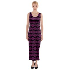 Pink Black Retro Tiki Pattern Fitted Maxi Dress