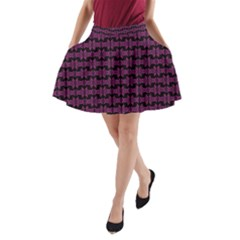 Pink Black Retro Tiki Pattern A-Line Pocket Skirt