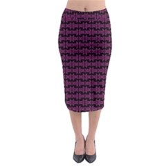 Pink Black Retro Tiki Pattern Midi Pencil Skirt