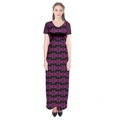 Pink Black Retro Tiki Pattern Short Sleeve Maxi Dress