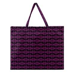 Pink Black Retro Tiki Pattern Zipper Large Tote Bag