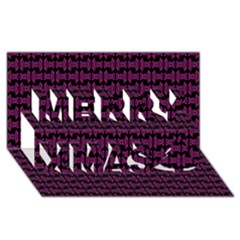 Pink Black Retro Tiki Pattern Merry Xmas 3D Greeting Card (8x4)