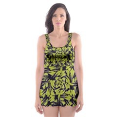 Modern Abstract Interlace Skater Dress Swimsuit