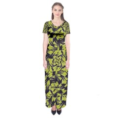 Modern Abstract Interlace Short Sleeve Maxi Dress