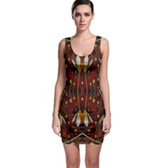 Fantasy Flowers And Leather In A World Of Harmony Sleeveless Bodycon Dress