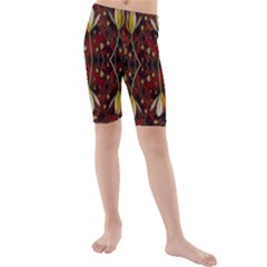 Fantasy Flowers And Leather In A World Of Harmony Kid s Mid Length Swim Shorts