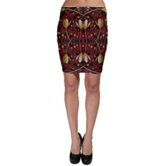Fantasy Flowers And Leather In A World Of Harmony Bodycon Skirt