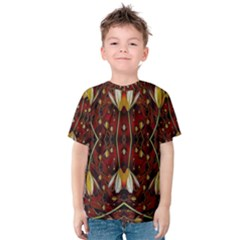 Fantasy Flowers And Leather In A World Of Harmony Kid s Cotton Tee