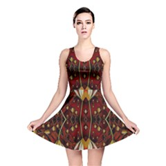 Fantasy Flowers And Leather In A World Of Harmony Reversible Skater Dress
