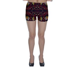 Fantasy Flowers And Leather In A World Of Harmony Skinny Shorts