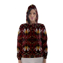 Fantasy Flowers And Leather In A World Of Harmony Hooded Wind Breaker (women)