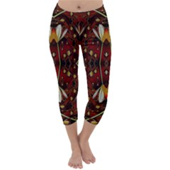 Fantasy Flowers And Leather In A World Of Harmony Capri Winter Leggings