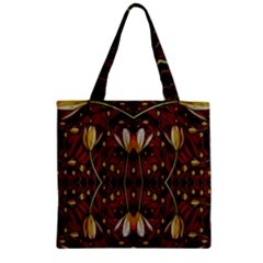 Fantasy Flowers And Leather In A World Of Harmony Zipper Grocery Tote Bag