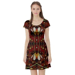 Fantasy Flowers And Leather In A World Of Harmony Short Sleeve Skater Dress