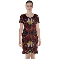 Fantasy Flowers And Leather In A World Of Harmony Short Sleeve Nightdress