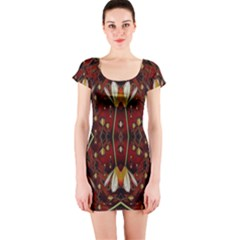Fantasy Flowers And Leather In A World Of Harmony Short Sleeve Bodycon Dress