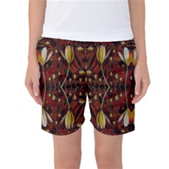 Fantasy Flowers And Leather In A World Of Harmony Women s Basketball Shorts