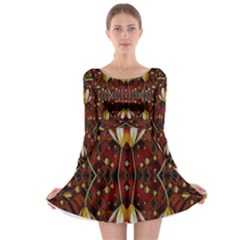 Fantasy Flowers And Leather In A World Of Harmony Long Sleeve Skater Dress